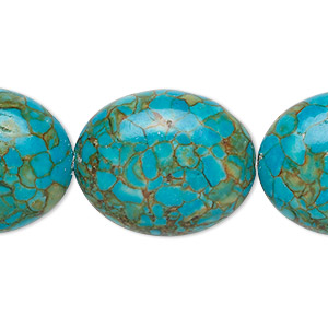 """Bead, Mosaic """"turquoise"""" (dyed / Assembled), Blue, 25x20mm Oval, Mohs Hardness 3-1/2 4. Sold Per 16-inch Strand 1430GE"""