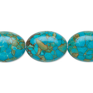 "Bead, Mosaic ""turquoise"" (dyed / Assembled), Blue, 20x15mm Oval, Mohs Hardness 3-1/2 4. Sold Per 16-inch Strand 1432GE"