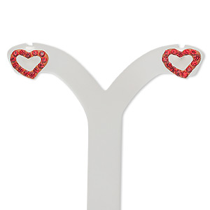 Earstud, Sterling Silver Crystal, Light Siam, 10x7mm Open Heart. Sold Per Pair 1441JC