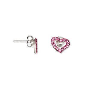 Earstud, Sterling Silver Crystal, Rose, 10x7mm Open Heart. Sold Per Pair 1443JC