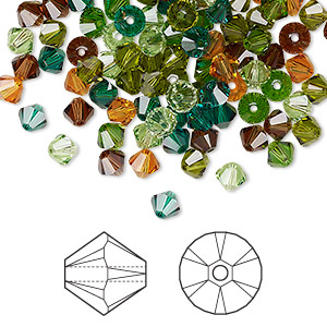 Bead, Swarovski® Crystals, Crystal Passions®, Forest, 4mm Xilion Bicone (5328). Sold Per Pkg 144 (1 Gross) 5328