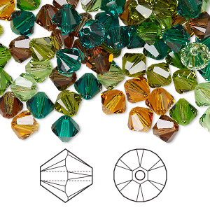 Bead, Swarovski® Crystals, Crystal Passions®, Forest, 6mm Xilion Bicone (5328). Sold Per Pkg 144 (1 Gross) 5328