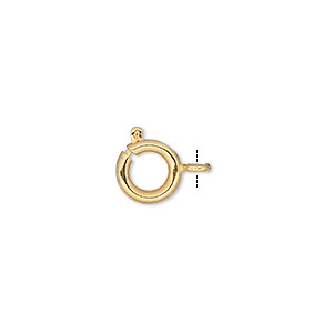 Clasp, Springring, Gold-plated Brass, 9mm. Sold Per Pkg 100
