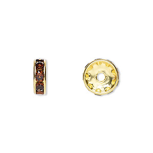 Bead, Swarovski® Crystals Gold-plated Brass, Crystal Passions®, Smoked Topaz, 10x3.5mm Rondelle (77510). Sold Per Pkg 4 77510