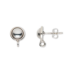Ball and Half Ball Sterling Silver Silver Colored