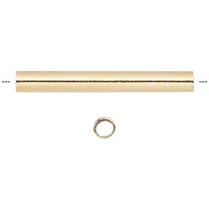 Bead, Gold-plated Brass, 16x2mm Round Tube. Sold Per Pkg 100