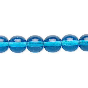 Bead, Czech Glass Druk, Transparent Turquoise Blue, 10mm Round. Sold Per 16-inch Strand 112-19001-00-10mm-60030