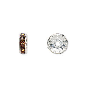 Bead, Swarovski® Crystals Rhodium-plated Brass, Crystal Passions®, Smoked Topaz, 10x3.5mm Rondelle (77510). Sold Per Pkg 144 (1 Gross) 77510