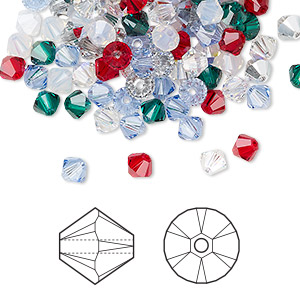 Bead, Swarovski® Crystals, Crystal Passions®, Christmas, 4mm Xilion Bicone (5328). Sold Per Pkg 144 (1 Gross) 5328