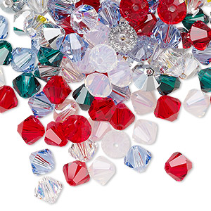 Bead, Swarovski® Crystals, Crystal Passions®, Christmas, 6mm Xilion Bicone (5328). Sold Per Pkg 144 (1 Gross) 5328
