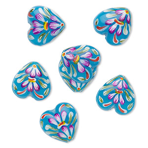 Bead, Glass, Turquoise Blue, 18x11mm Heart, Hand Painted. Sold Per Pkg 6