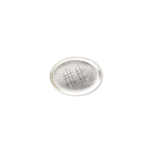 Bezel Cup, Sterling Silver, Solid Back, 14x10mm Oval. Sold Per Pkg 2
