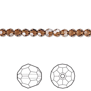 Bead, Swarovski® Crystals, Crystal Passions®, Smoked Topaz, 4mm Faceted Round (5000). Sold Per Pkg 12 5000