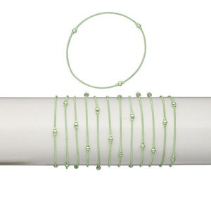 Bracelet, Stretch, Plastic Brass, Metallic Green, Coil 2.5mm 4mm Round, 7 Inches. Sold Per Pkg 12 1480JU