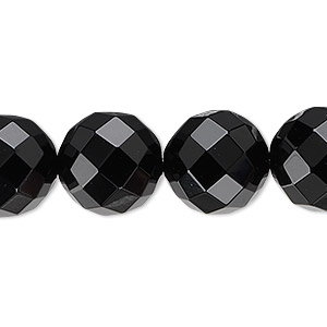 Bead, Black Onyx (dyed), 14mm Faceted Round, B Grade, Mohs Hardness 6-1/2 7. Sold Per 16-inch Strand 1482GE