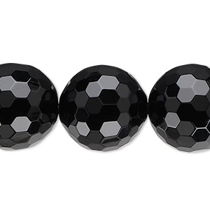 Bead, Black Onyx (dyed), 18mm Faceted Round, B Grade, Mohs Hardness 6-1/2 7. Sold Per 16-inch Strand 1484GE