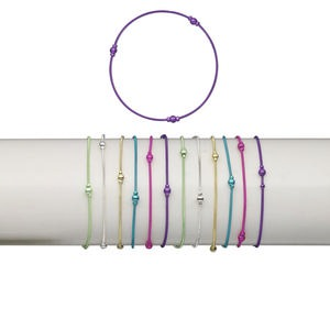 Bracelet Mix, Stretch, Brass Plastic, Mixed Colors, Coil 2.5mm 4mm Round, 7 Inches. Sold Per Pkg 12 1485JU