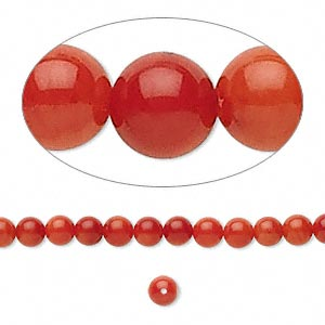 Bead, Bamboo Coral (dyed), Red, 3-4mm Round, Mohs Hardness 3-1/2 4. Sold Per 16-inch Strand