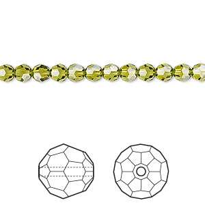 Bead, Swarovski® Crystals, Crystal Passions®, Olivine, 4mm Faceted Round (5000). Sold Per Pkg 12 5000