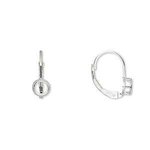 Earwire, Bezelite, Sterling Silver, 14mm Leverback 4mm 4-prong Round Setting. Sold Per Pair