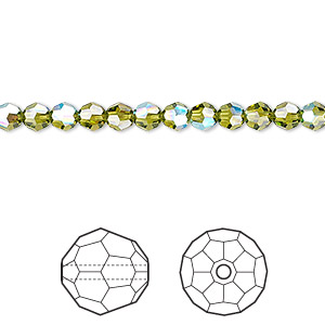 Bead, Swarovski® Crystals, Crystal Passions®, Olivine AB, 4mm Faceted Round (5000). Sold Per Pkg 12 5000