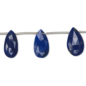 Bead, Lapis Lazuli (natural), 9x5mm-15x9mm Graduated Hand-cut Top-drilled Faceted Puffed Teardrop, A- Grade, Mohs Hardness 5 6. Sold Per 8-inch Strand, Approximately 10 Beads 1494GE