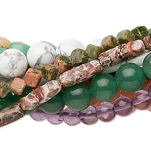 Bead Mix, Multi-gemstone (natural / Dyed / Heated), Mixed Colors, 4x4mm-20x17mm Mixed Shape, C- Grade. Sold Per Pkg (10) 16-inch Strands