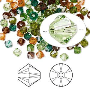 Bead, Swarovski® Crystals, Crystal Passions®, Forest, 4mm Xilion Bicone (5328). Sold Per Pkg 48 5328