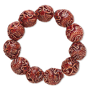 Bracelet, Stretch, Resin, Brown, 20x18mm Double-sided Oval Dragon Phoenix, 6-1/2 Inches. Sold Individually 1501JU