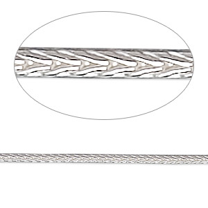 Chain, Sterling Silver, 2mm Round Foxtail, 16 Inches. Sold Individually