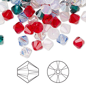 Bead, Swarovski® Crystals, Crystal Passions®, Christmas, 6mm Xilion Bicone (5328). Sold Per Pkg 24 5328