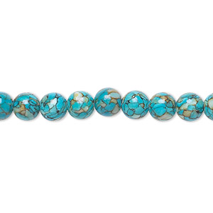 "Bead, Mosaic ""turquoise"" (dyed / Assembled), Blue, 6mm Round, Mohs Hardness 3-1/2 4. Sold Per 16-inch Strand 1518GE"