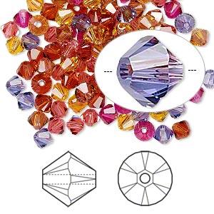 Bead, Swarovski® Crystals, Crystal Passions®, Heat, 4mm Xilion Bicone (5328). Sold Per Pkg 48 5328