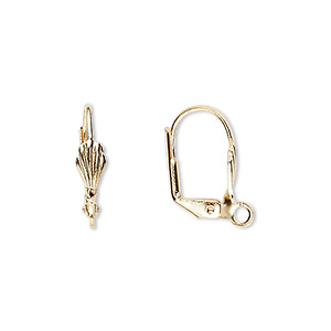 Earwire, Gold-plated Brass, 17mm Leverback 8x4mm Shell Open Loop. Sold Per Pkg 50 Pairs