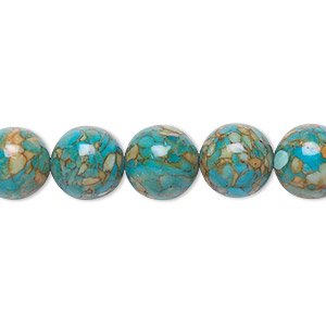 "Bead, Mosaic ""turquoise"" (dyed / Assembled), Blue, 10mm Round, Mohs Hardness 3-1/2 4. Sold Per 16-inch Strand 1520GE"
