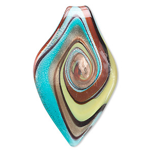 Focal, Lampworked Glass, Multicolored Copper-colored Glitter, 62x37mm Single-sided Leaf. Sold Individually