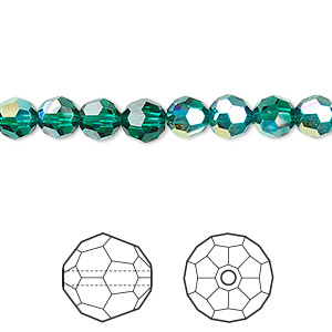 Bead, Swarovski® Crystals, Crystal Passions®, Emerald AB, 6mm Faceted Round (5000). Sold Per Pkg 12 5000