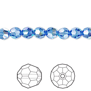 Bead, Swarovski® Crystals, Crystal Passions®, Sapphire AB, 6mm Faceted Round (5000). Sold Per Pkg 12 5000