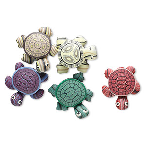 Magnet Mix, Polymer Clay, Assorted Colors, 24x22mm Turtle. Sold Per Pkg 5