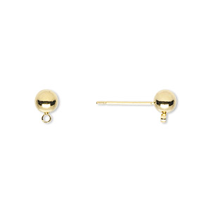Earstud, Gold-finished Brass Stainless Steel, 5mm Ball Closed Loop. Sold Per Pkg 50 Pairs