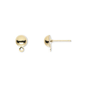 Earstud, Gold-plated Brass Stainless Steel, 6mm Half Ball Closed Loop. Sold Per Pkg 50 Pairs