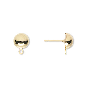 Earstud, Gold-plated Brass Stainless Steel, 8mm Half Ball Closed Loop. Sold Per Pkg 50 Pairs