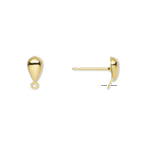 Earstud, Gold-plated Brass Stainless Steel, 7x4mm Hollow Fancy Teardrop Closed Loop. Sold Per Pkg 50 Pairs