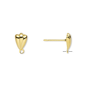 Earstud, Gold-plated Brass Stainless Steel, 8x5mm Hollow Fancy Shell Closed Loop. Sold Per Pkg 50 Pairs