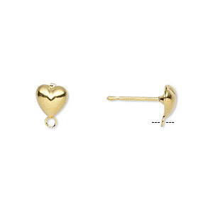 Earstud, Gold-plated Brass Stainless Steel, 6x6mm Hollow Fancy Heart Closed Loop. Sold Per Pkg 50 Pairs