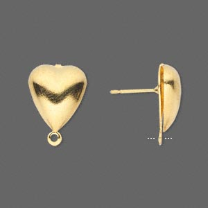 Earstud, Gold-plated Brass Stainless Steel, 15x12mm Hollow Fancy Heart Closed Loop. Sold Per Pkg 50 Pairs