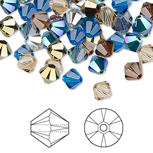 Bead, Swarovski® Crystals, Crystal Passions®, Lakeshore, 6mm Xilion Bicone (5328). Sold Per Pkg 144 (1 Gross) 5328