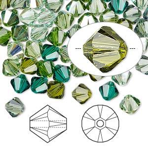 Bead, Swarovski® Crystals, Crystal Passions®, Ireland, 6mm Xilion Bicone (5328). Sold Per Pkg 144 (1 Gross) 5328