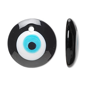 Focal, Lampworked Glass, Black / White / Light Blue, 44mm Single-sided Round Wards Evil Eye Design. Sold Individually