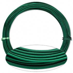 Wire, Painted Aluminum, Green, Round, 12 Gauge. Sold Per Pkg 45 Feet